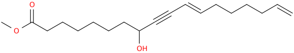 11,17 octadecadien 9 ynoic acid, 8 hydroxy , methyl ester, (e)  (8ci)