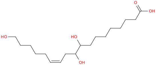 12 octadecenoic acid, 9,10,18 trihydroxy , (12z)